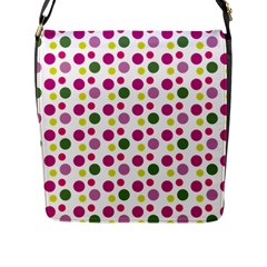 Polka Dot Purple Green Yellow Flap Messenger Bag (l)