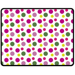 Polka Dot Purple Green Yellow Double Sided Fleece Blanket (medium)  by Mariart