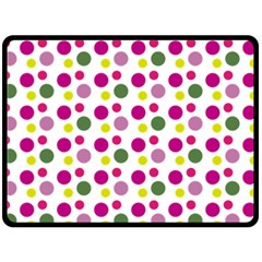 Polka Dot Purple Green Yellow Double Sided Fleece Blanket (large)  by Mariart