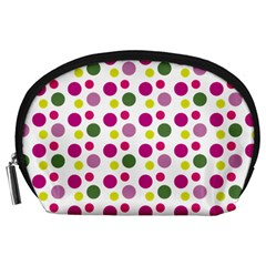 Polka Dot Purple Green Yellow Accessory Pouches (large)  by Mariart