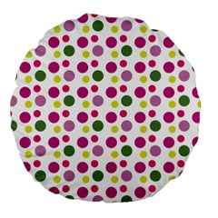 Polka Dot Purple Green Yellow Large 18  Premium Flano Round Cushions by Mariart