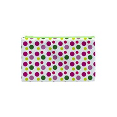 Polka Dot Purple Green Yellow Cosmetic Bag (xs) by Mariart
