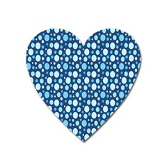 Polka Dot Blue Heart Magnet by Mariart