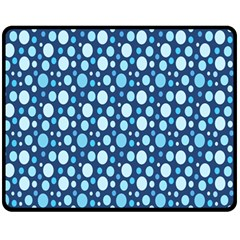 Polka Dot Blue Fleece Blanket (medium)  by Mariart