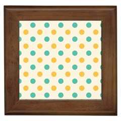 Polka Dot Yellow Green Blue Framed Tiles by Mariart
