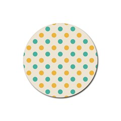 Polka Dot Yellow Green Blue Rubber Coaster (round)  by Mariart
