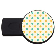 Polka Dot Yellow Green Blue Usb Flash Drive Round (2 Gb) by Mariart