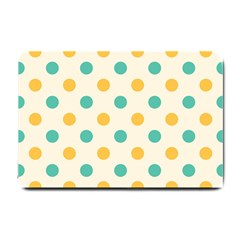 Polka Dot Yellow Green Blue Small Doormat  by Mariart
