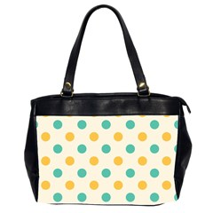Polka Dot Yellow Green Blue Office Handbags (2 Sides)  by Mariart