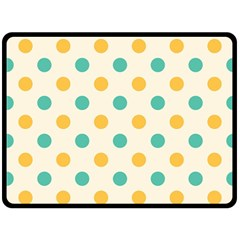 Polka Dot Yellow Green Blue Fleece Blanket (large)  by Mariart