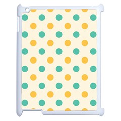 Polka Dot Yellow Green Blue Apple Ipad 2 Case (white) by Mariart