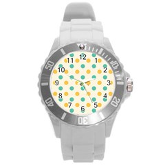 Polka Dot Yellow Green Blue Round Plastic Sport Watch (l) by Mariart