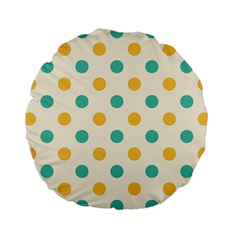 Polka Dot Yellow Green Blue Standard 15  Premium Round Cushions by Mariart
