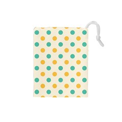 Polka Dot Yellow Green Blue Drawstring Pouches (small)  by Mariart