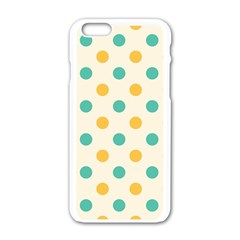 Polka Dot Yellow Green Blue Apple Iphone 6/6s White Enamel Case by Mariart