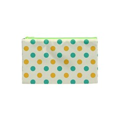 Polka Dot Yellow Green Blue Cosmetic Bag (xs) by Mariart