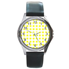 Polka Dot Yellow White Round Metal Watch by Mariart