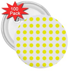 Polka Dot Yellow White 3  Buttons (100 Pack)  by Mariart