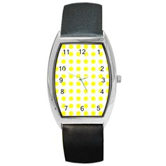 Polka Dot Yellow White Barrel Style Metal Watch by Mariart