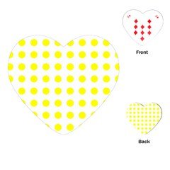 Polka Dot Yellow White Playing Cards (heart)  by Mariart