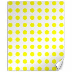 Polka Dot Yellow White Canvas 16  X 20   by Mariart
