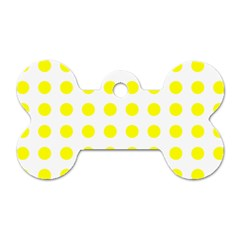 Polka Dot Yellow White Dog Tag Bone (one Side) by Mariart