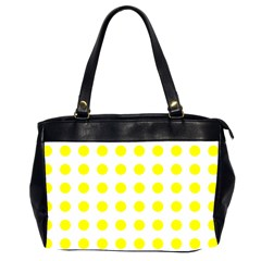 Polka Dot Yellow White Office Handbags (2 Sides)  by Mariart