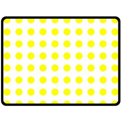 Polka Dot Yellow White Fleece Blanket (large)  by Mariart