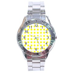 Polka Dot Yellow White Stainless Steel Analogue Watch by Mariart