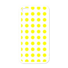 Polka Dot Yellow White Apple Iphone 4 Case (white) by Mariart