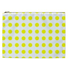Polka Dot Yellow White Cosmetic Bag (xxl)  by Mariart