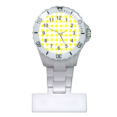 Polka Dot Yellow White Plastic Nurses Watch by Mariart