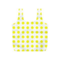 Polka Dot Yellow White Full Print Recycle Bags (s)  by Mariart