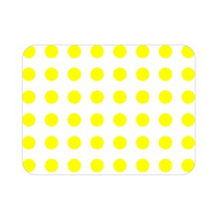 Polka Dot Yellow White Double Sided Flano Blanket (mini)  by Mariart