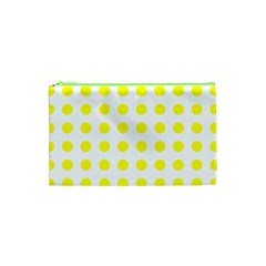 Polka Dot Yellow White Cosmetic Bag (xs) by Mariart