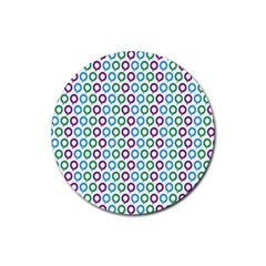 Polka Dot Like Circle Purple Blue Green Rubber Round Coaster (4 Pack)  by Mariart
