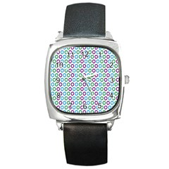 Polka Dot Like Circle Purple Blue Green Square Metal Watch by Mariart