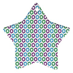 Polka Dot Like Circle Purple Blue Green Star Ornament (two Sides) by Mariart