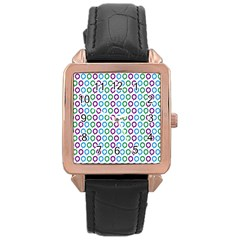 Polka Dot Like Circle Purple Blue Green Rose Gold Leather Watch  by Mariart