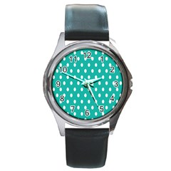 Polka Dots White Blue Round Metal Watch by Mariart