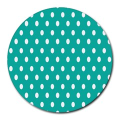 Polka Dots White Blue Round Mousepads