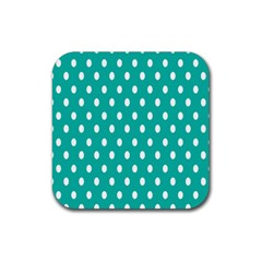 Polka Dots White Blue Rubber Coaster (square)  by Mariart