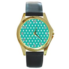 Polka Dots White Blue Round Gold Metal Watch by Mariart