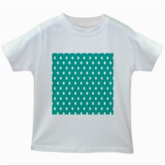 Polka Dots White Blue Kids White T Shirts