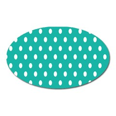 Polka Dots White Blue Oval Magnet