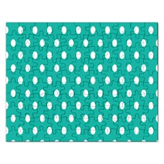 Polka Dots White Blue Rectangular Jigsaw Puzzl by Mariart