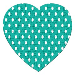 Polka Dots White Blue Jigsaw Puzzle (heart) by Mariart