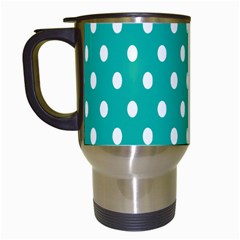 Polka Dots White Blue Travel Mugs (white) by Mariart