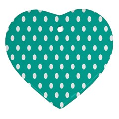 Polka Dots White Blue Heart Ornament (two Sides) by Mariart