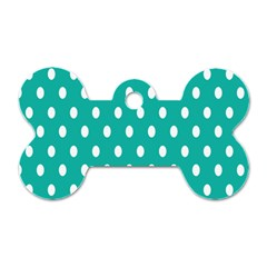 Polka Dots White Blue Dog Tag Bone (one Side) by Mariart